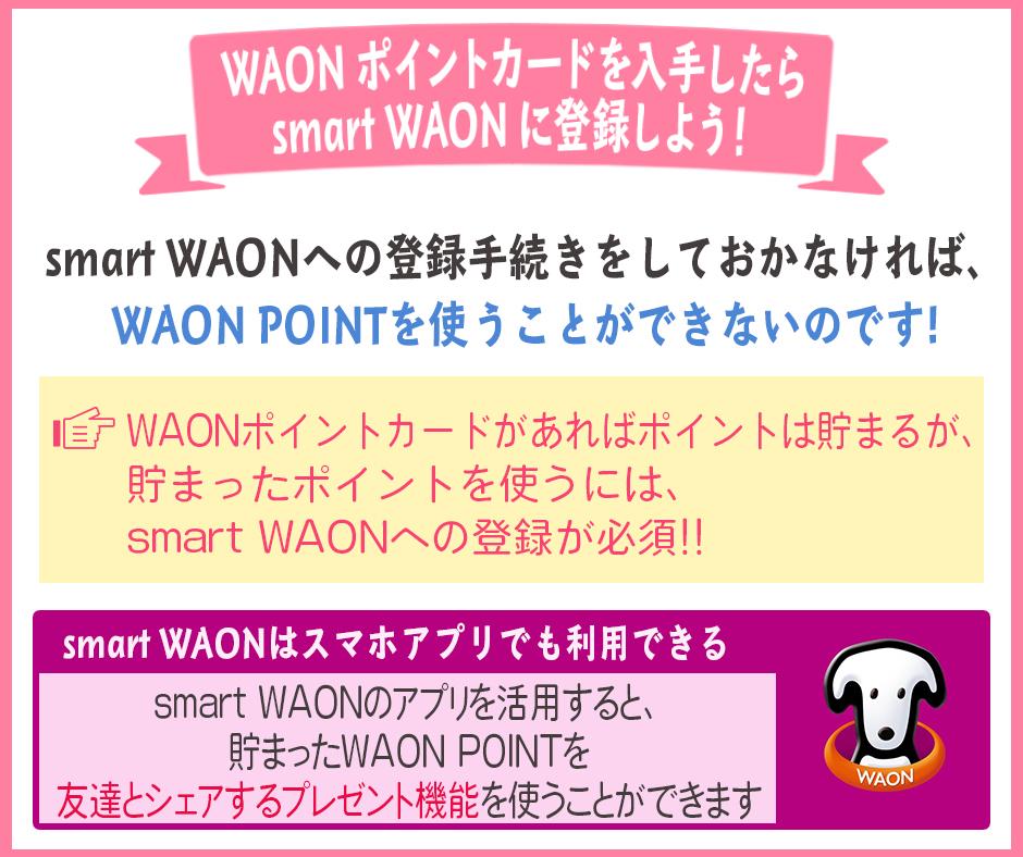 WAONポイントカードを入手したらsmart WAONに登録しよう!