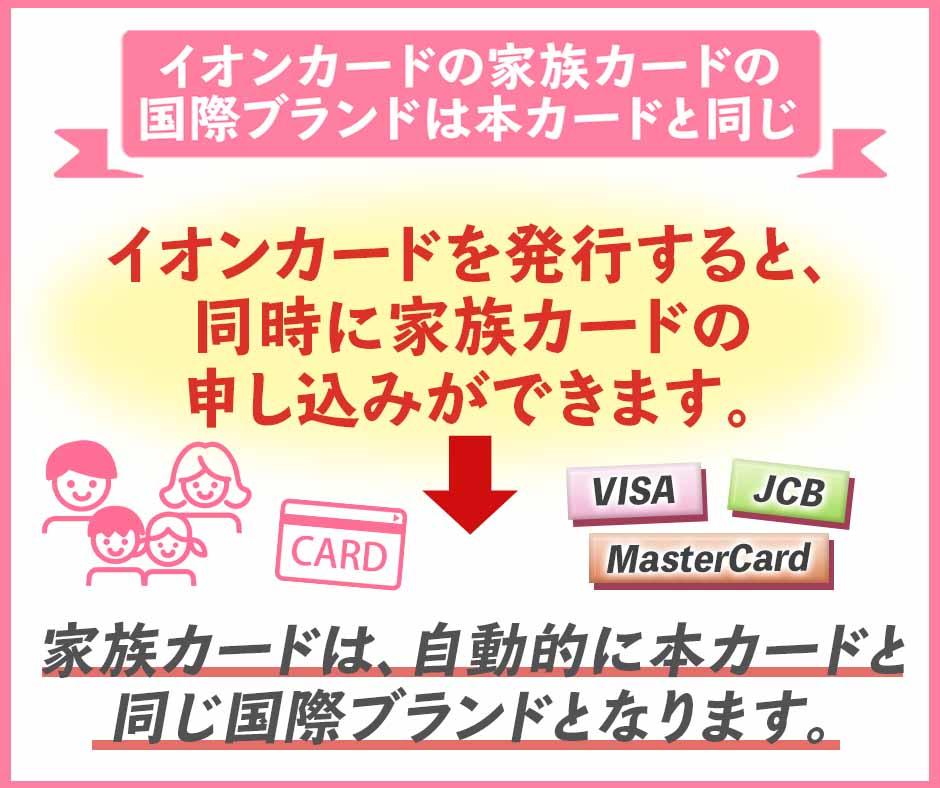 イオンカードの家族カードの国際ブランドは本カードと同じ