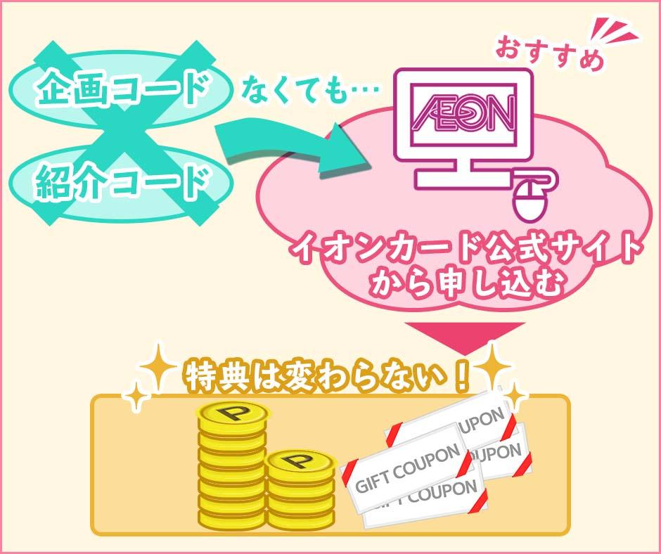 イオンカードの入会キャンペーンは企画コードや紹介コードがなくても変わらない!