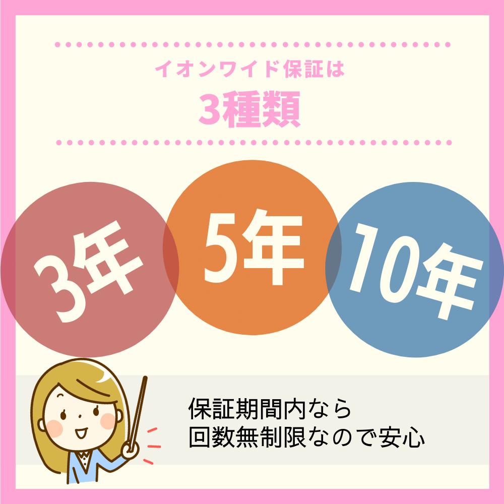 イオンワイド保証は3年・5年・10年の3種類